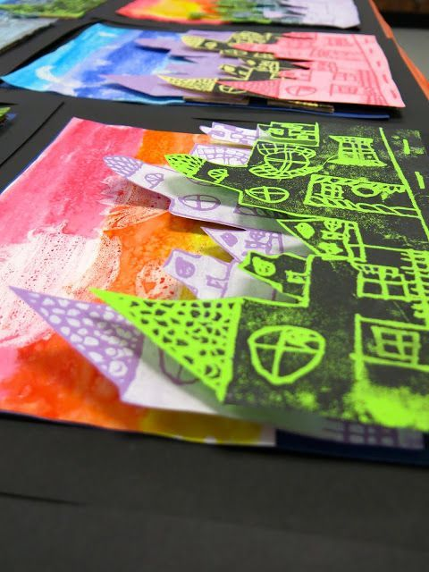 In the Art Room: Printed Cityscape Collages with Third Grade | Cassie Stephens | Bloglovin'