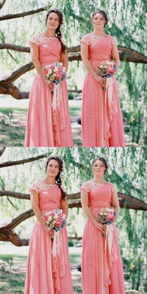 Elegante Brautjungfernkleider Rosa Mit Spitze Chiffon