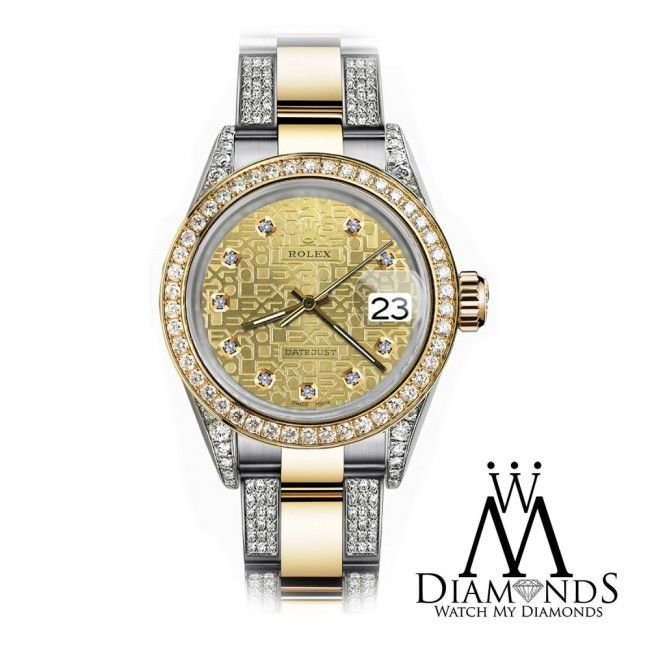 351c114dd5d Rolex Champagne Logo 26mm Datejust 2Tone 18K Gold + SS + Side Diamonds  Oyster Band +