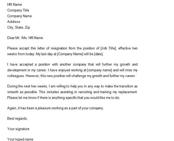 Two Weeks Notice 14 2 Week Notice Letter Template Resignation Letter Two Weeks Notice
