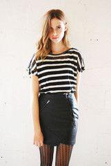 Neon Rose Black PU Leather Zip Mini Skirt | ScaryCanary