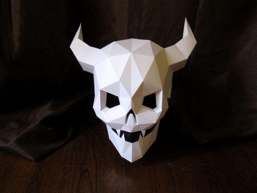 Devil Skull Mask with Moving Mouth for Halloween - DIY Pattern ...