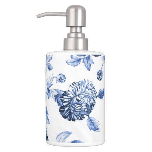 Periwinkle Blue White Botanical Floral Toile No2 Soap Dispenser And Toothbrush Holder Zazzle Com Floral Toile Soap Dispenser Floral Bathroom