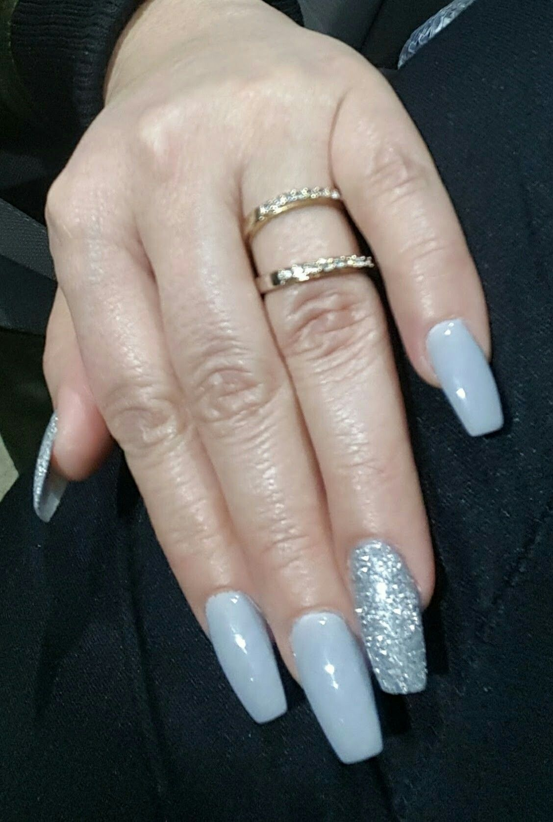 Gray with silver accent #nexgen | nails | Pinterest