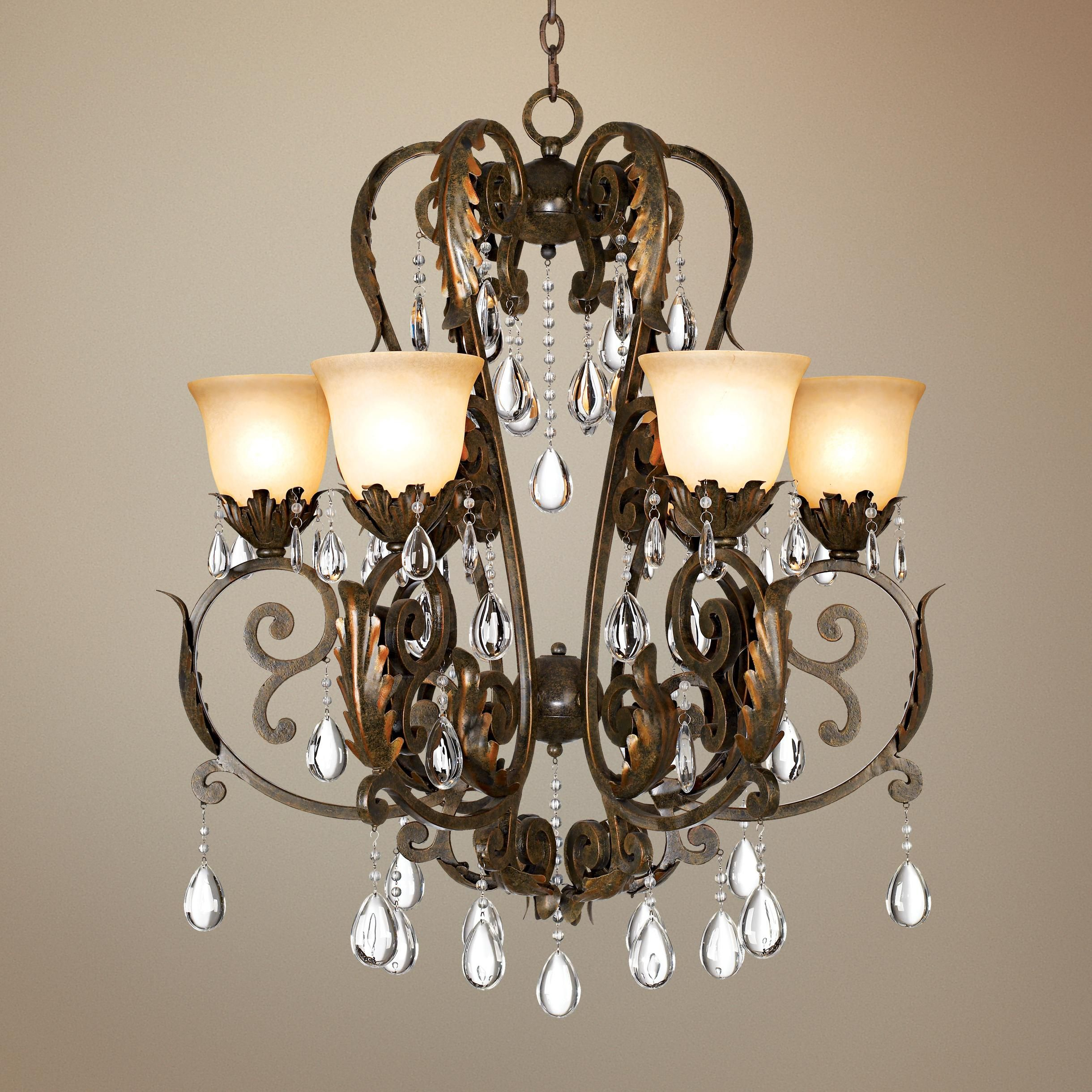 Casual Dining Room Chandeliers: Valentina Iron Leaf Collection Six Light Chandelier