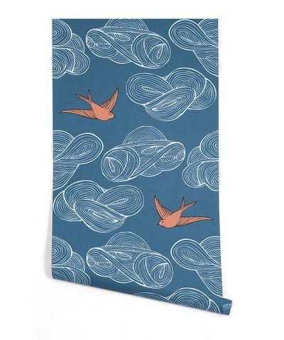c09428caa J & J Modern Kids - Cobalt and Coral Sweet Little Sparrow Wallpaper ...