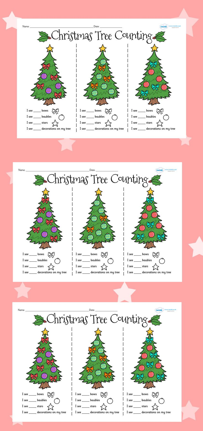Twinkl Resources Christmas Tree Counting Worksheets Printable