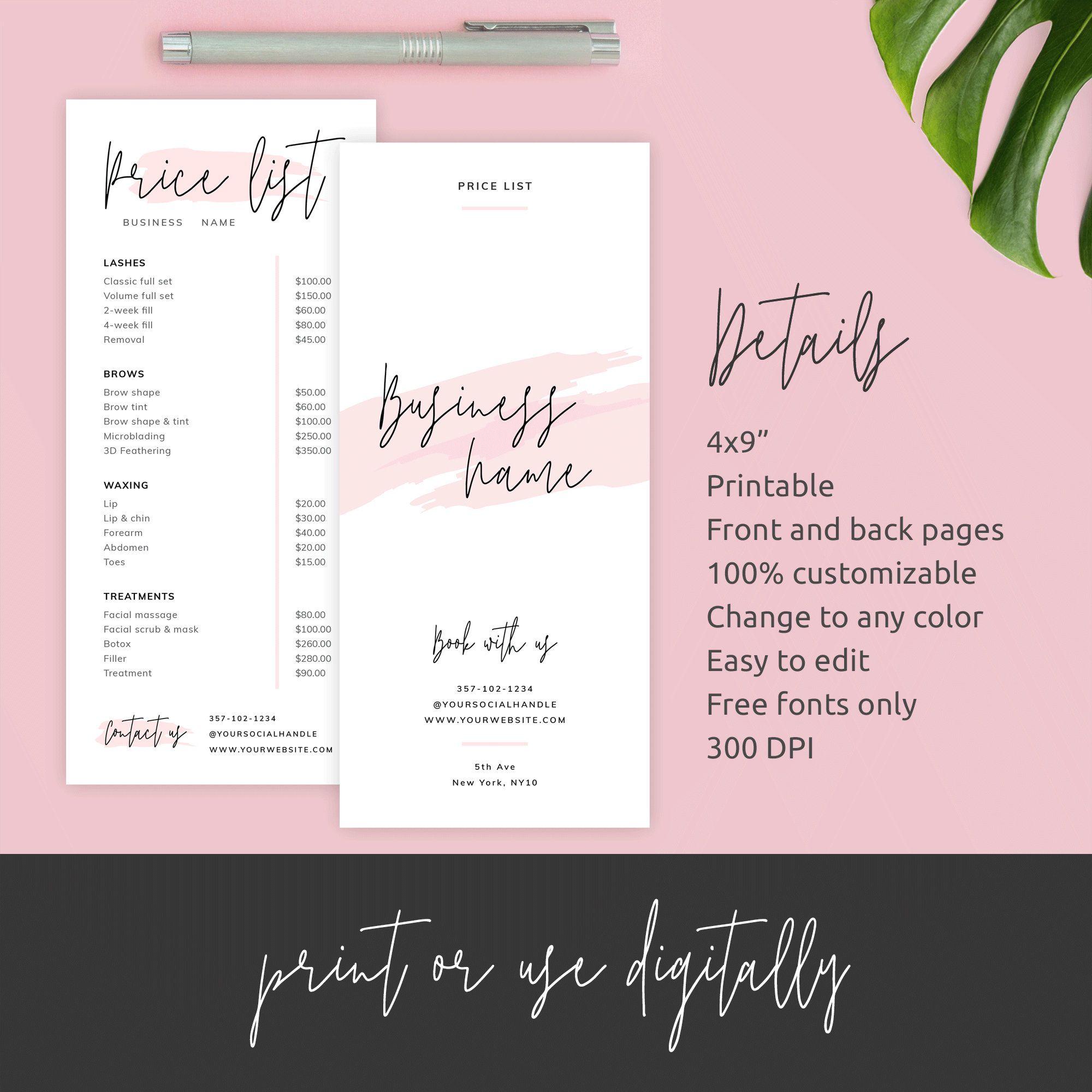 Editable Price List Template Custom Menu Design Printable Etsy In 2021 Price List Template Beauty Salon Price List Salon Price List