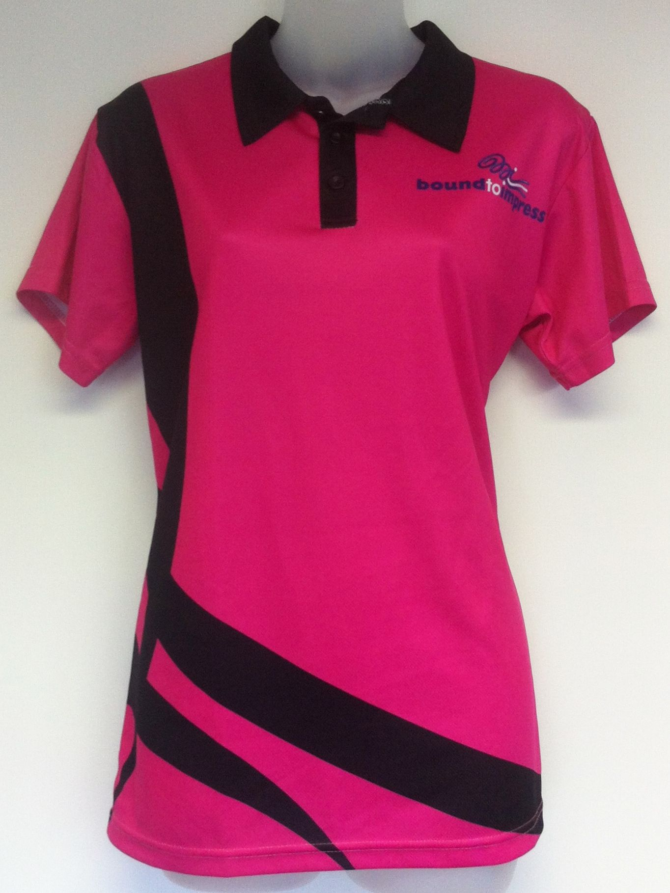 Design t shirt netball - Here Is A Pretty Pink Sublimated Polo Shirt Design For The Team At Bound To Impress