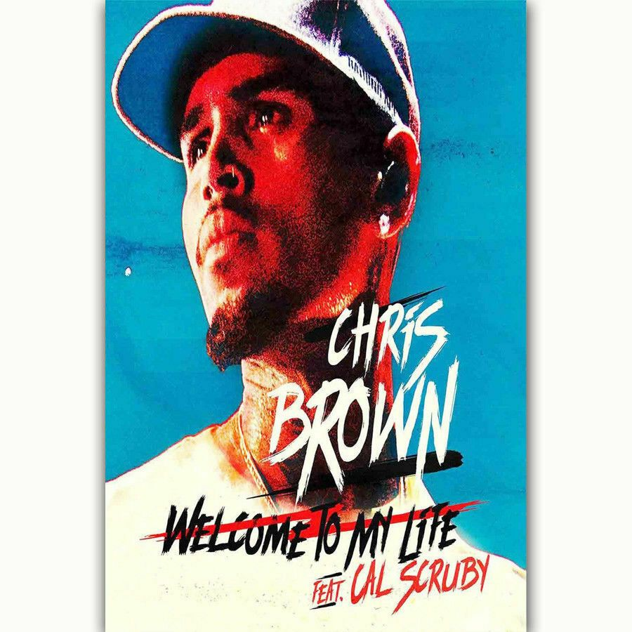 B0450 New Chris Brown Custom Rap Music Cover Art Silk Cloth Wall