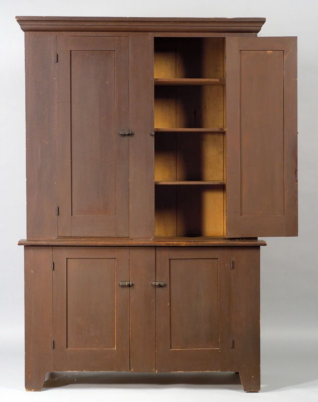 period Century American Shaker dark red painted poplar paneled step-back  cupboard from Watervliet, N., circa This lovely cupboard has a documentable  ... - This Is A Fine Classic Middle Period 19th Century American Shaker