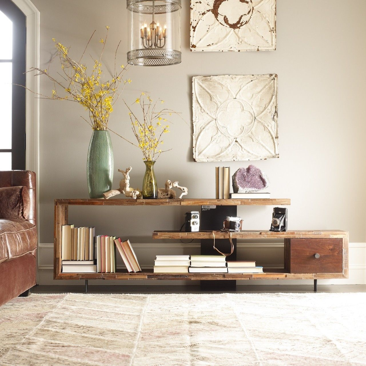 Jonah staggered reclaimed wood tv console table 76