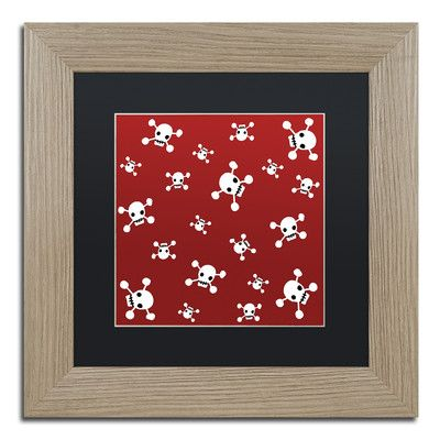 "Trademark Art 'Crossbones Pattern' by Jennifer Nilsson Framed Graphic Art Size: 11"" H x 11"" W x 0.5"" D, Matte Color: Black"