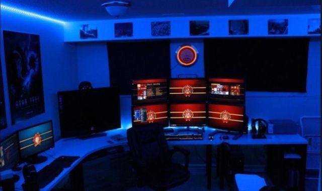 Cool Blue Led Light Gaming Room Gaming Rooms Setup Pinterest - Cool led lights for bedroom