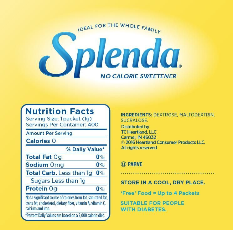 Nutrition Facts Splenda No Calorie Sweetener Packets Ingredients Dextrose Maltodextrin Sucralose Use A Packet Splenda Nutrition Splenda Sweetener