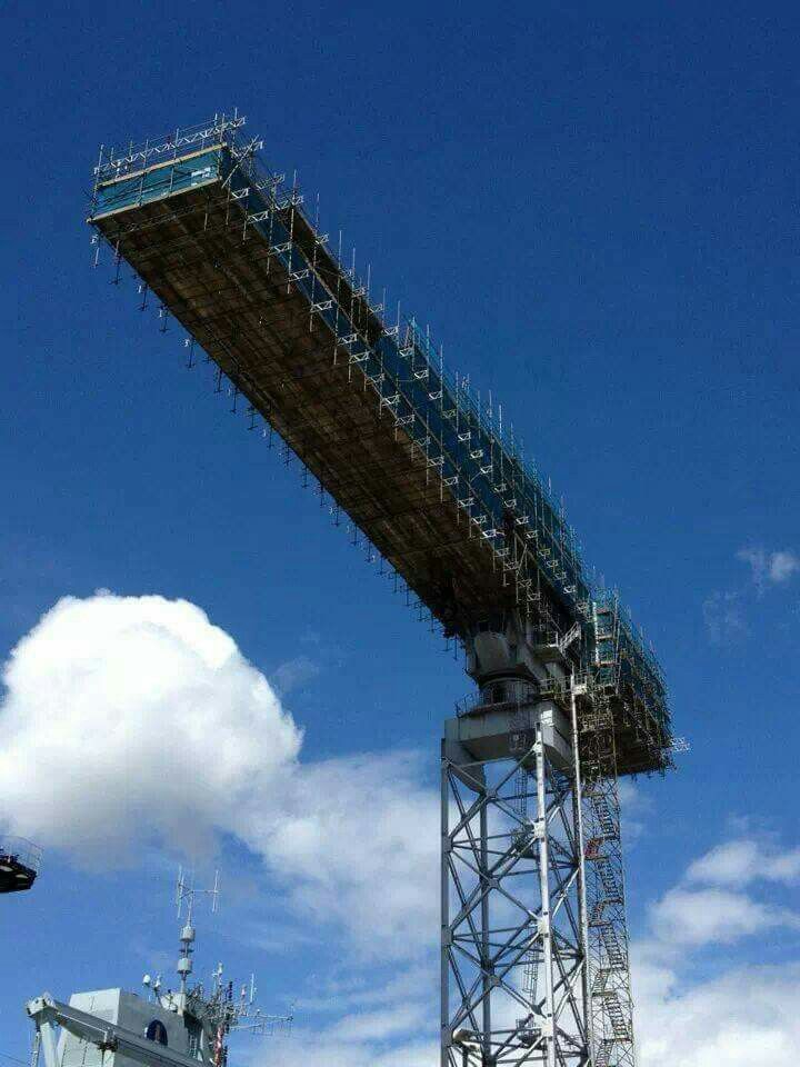 Navy Crane Scaffolding Job Scaffolding Space Needle Building