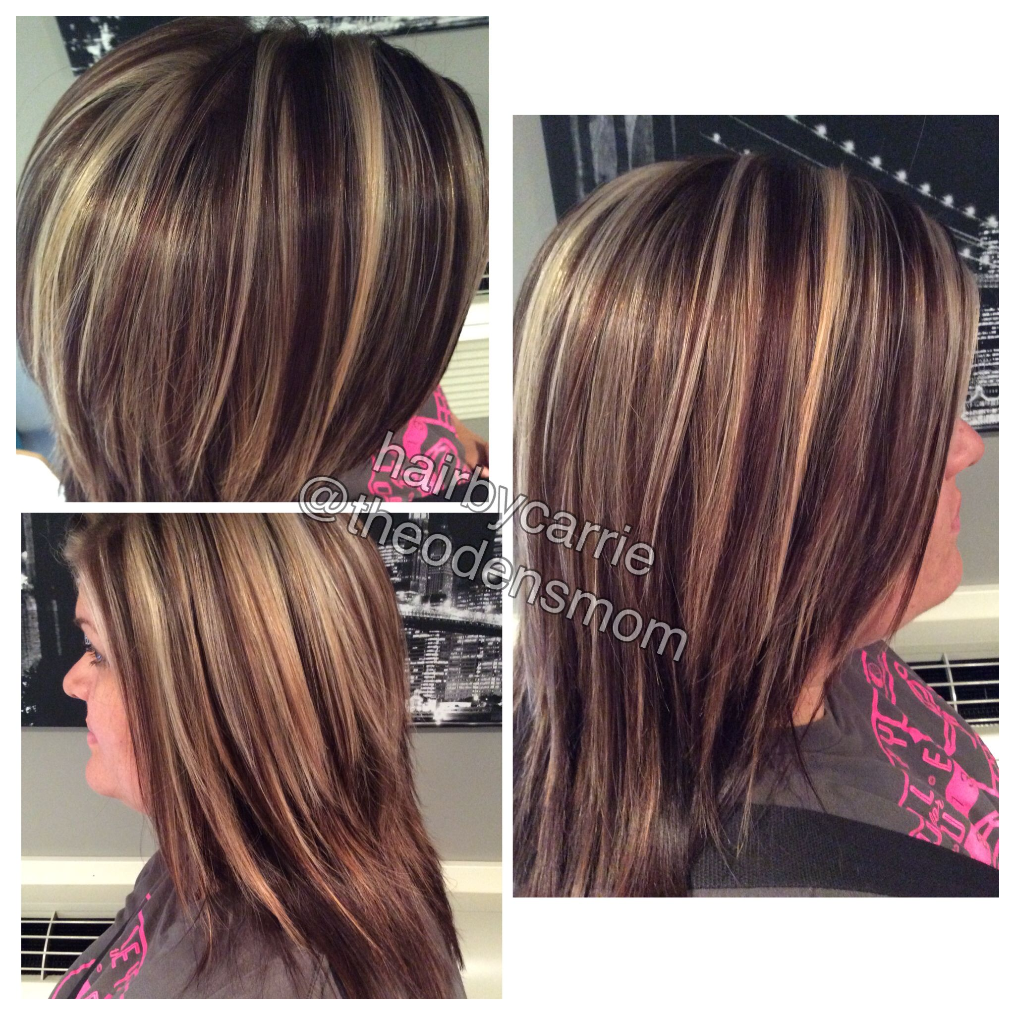 Blonde And Golden Brown Chunky Highlights Kenra Color Hair By