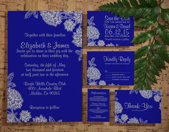 elegant royal blue wedding invitation set suite invites save the