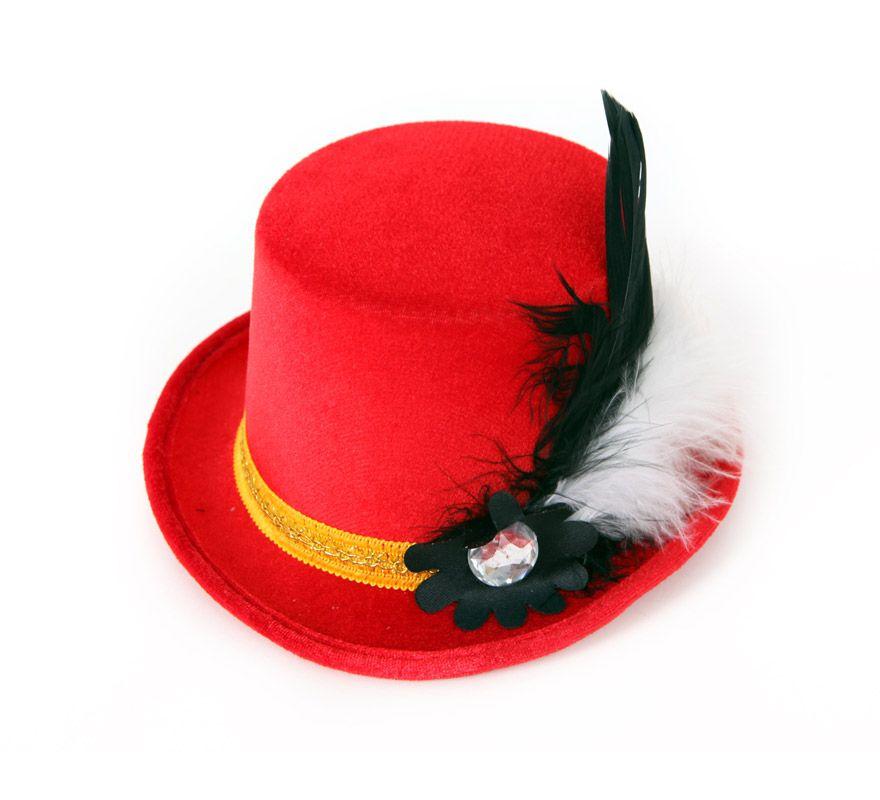 Mini Sombrero de Copa o Chistera rojo con pluma y broche.  eee13207165