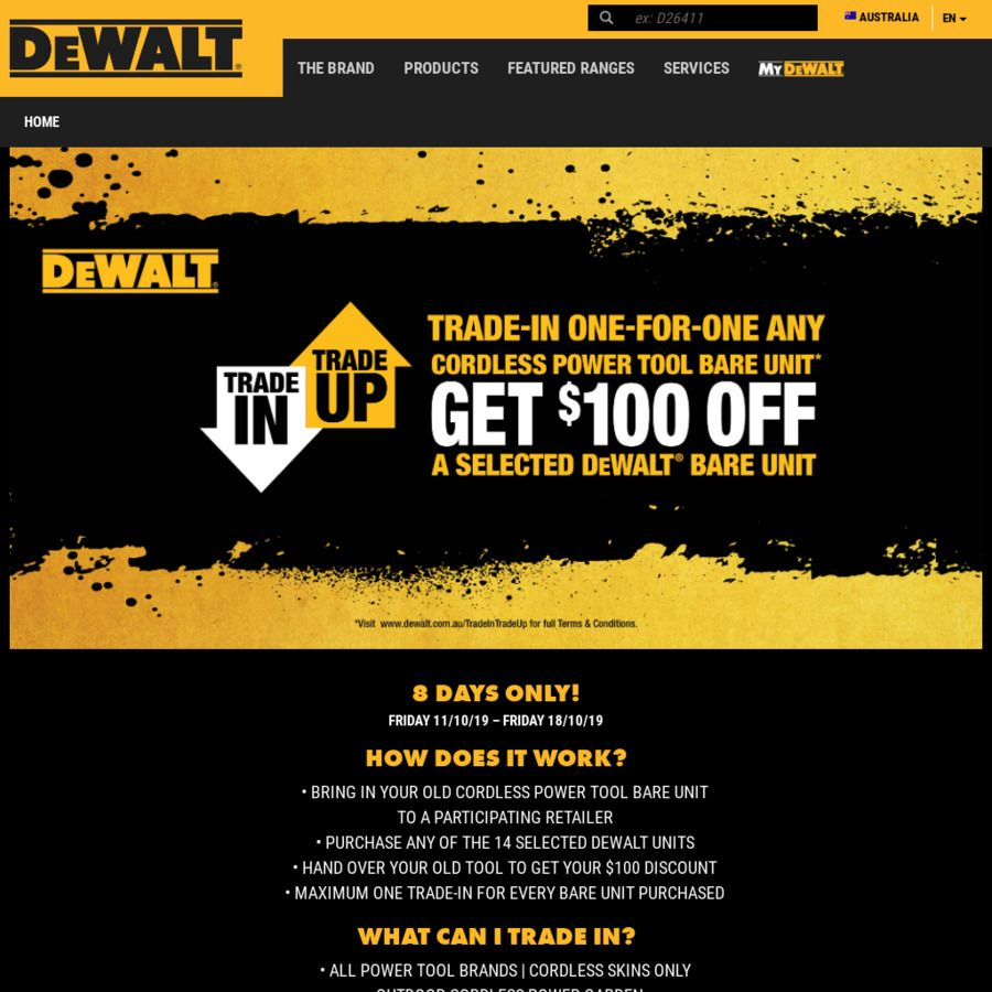 Trade In Any Cordless Power Tool To Get 100 Credit Towards A