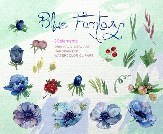 Blue Anemone Clip Art Rustic Floral Clipart By FLORISTKA