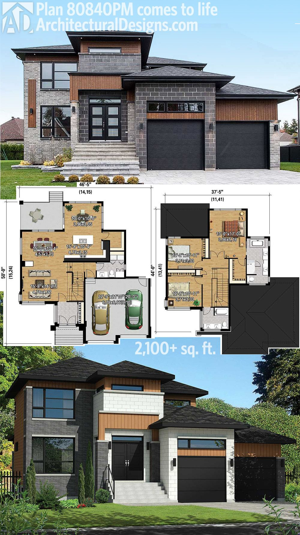 Architectural Designs Modern House Plan 80840PM gives you over 2 100 square  feet of living with 3. Plan 80840PM  Multi Level Modern House Plan   Exterior colors