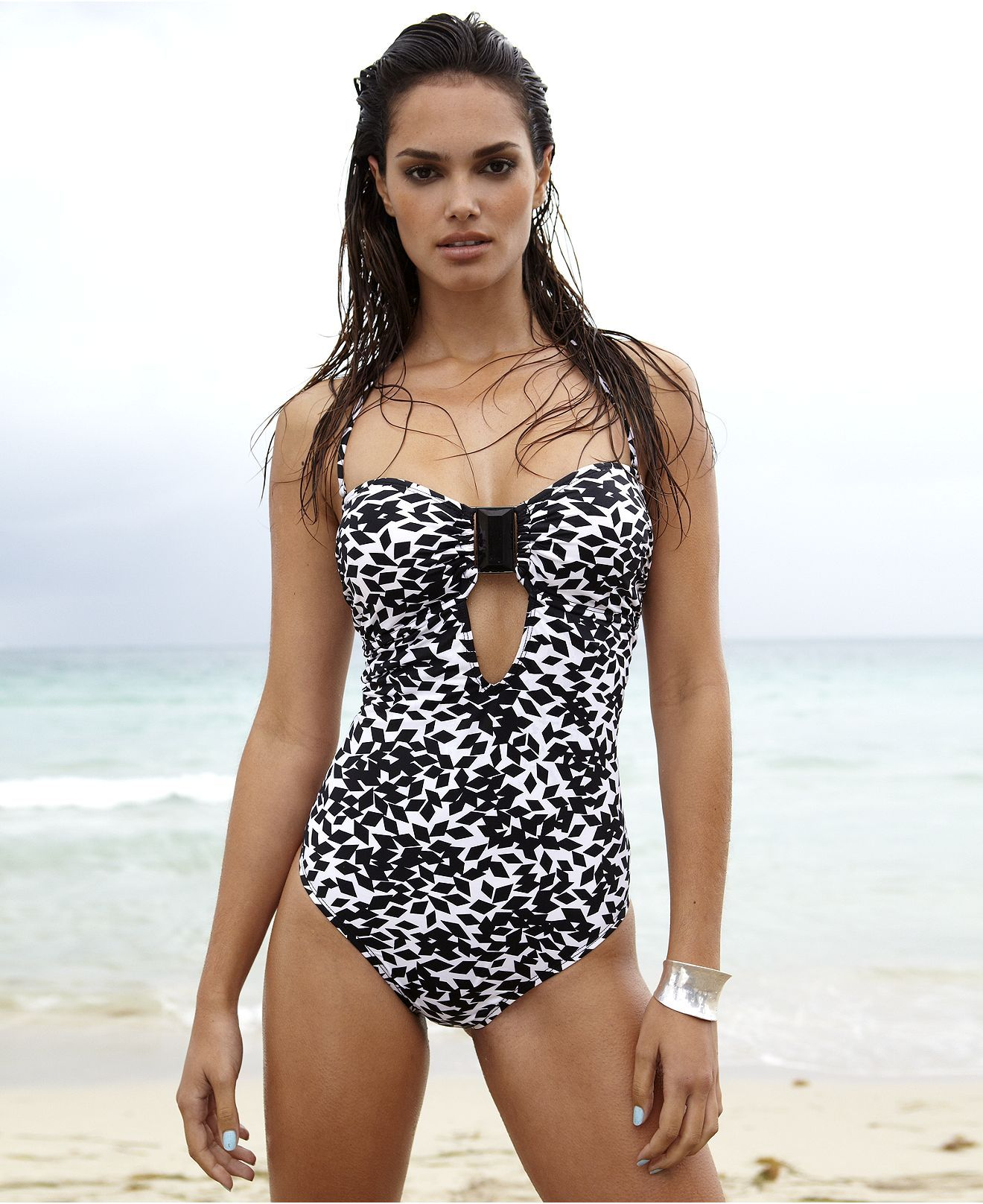 fcad4edde6d60 Kenneth Cole New York Swimsuit, Bandeau Keyhole Printed One Piece - Womens  Swim - Macy's