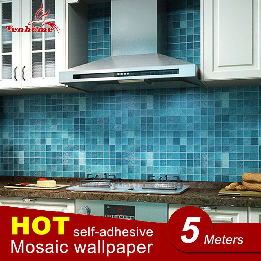 Mosaic Wallpaper Vinyl Self Adhesive Kitchen Bathroom Waterproof Wall Sticker