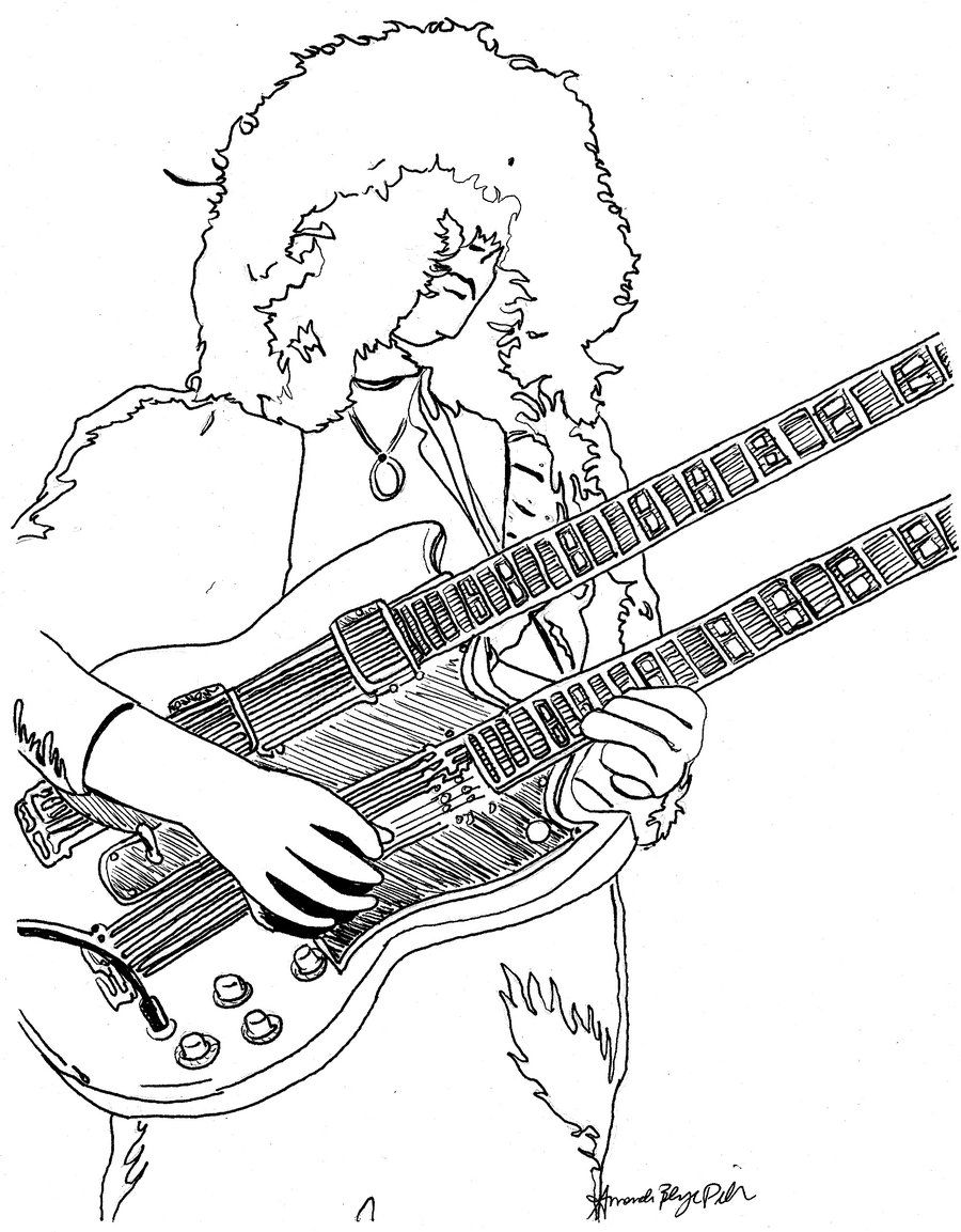 Jimmy Page Coloring Page By Amandadelonge On Deviantart Coloring Pages Star Coloring Pages Coloring Book Pages