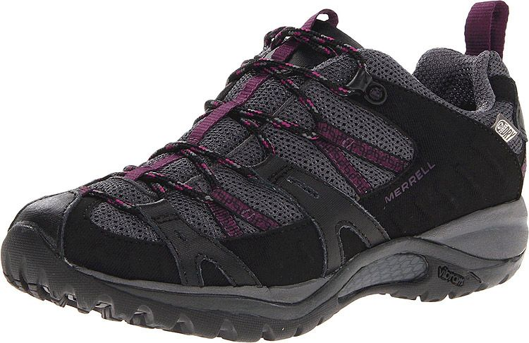 Siren Sport 2 Waterproof Black/Damson by Merrell!  Available in 2 colors. This nimble, waterproof hiker feels comfortable, light and liberating on the trail. A waterproof membrane lets moisture out while preventing water from seeping in. Secure, one-pull Omni-Fit lacing molds the breathable mesh and water-resistant nubuck to your foot. The comfort suite below your feet: Q-Form Comfort women's specific cushioning, air cushioned heel and a sticky Mermaid Vibram sole.