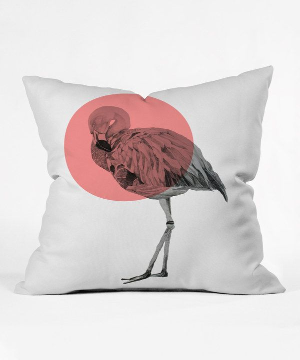 Look at this Morgan Kendall Coral Flamingo Throw Pillow on #zulily today!