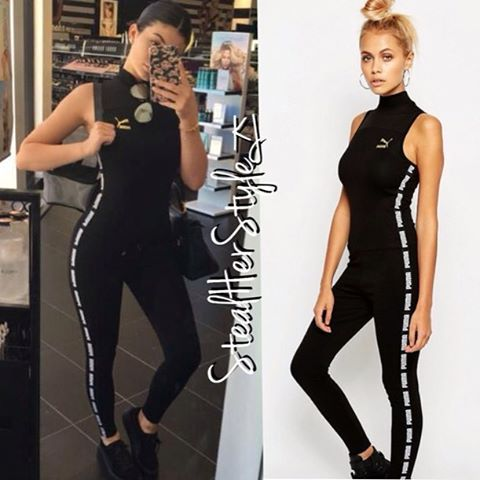 Kyliejenner Snapchat Kylie Wearing Puma Black High Neck Jumpsuit
