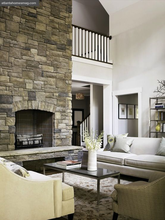 Transitional Living Room Design With Stone Fireplace Hearth Board Hawthorne Sofa In Bone Loring Wheat Portica
