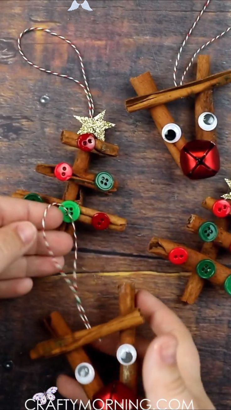 Cinnamon Stick Reindeer & Tree Ornaments Crafty Morning
