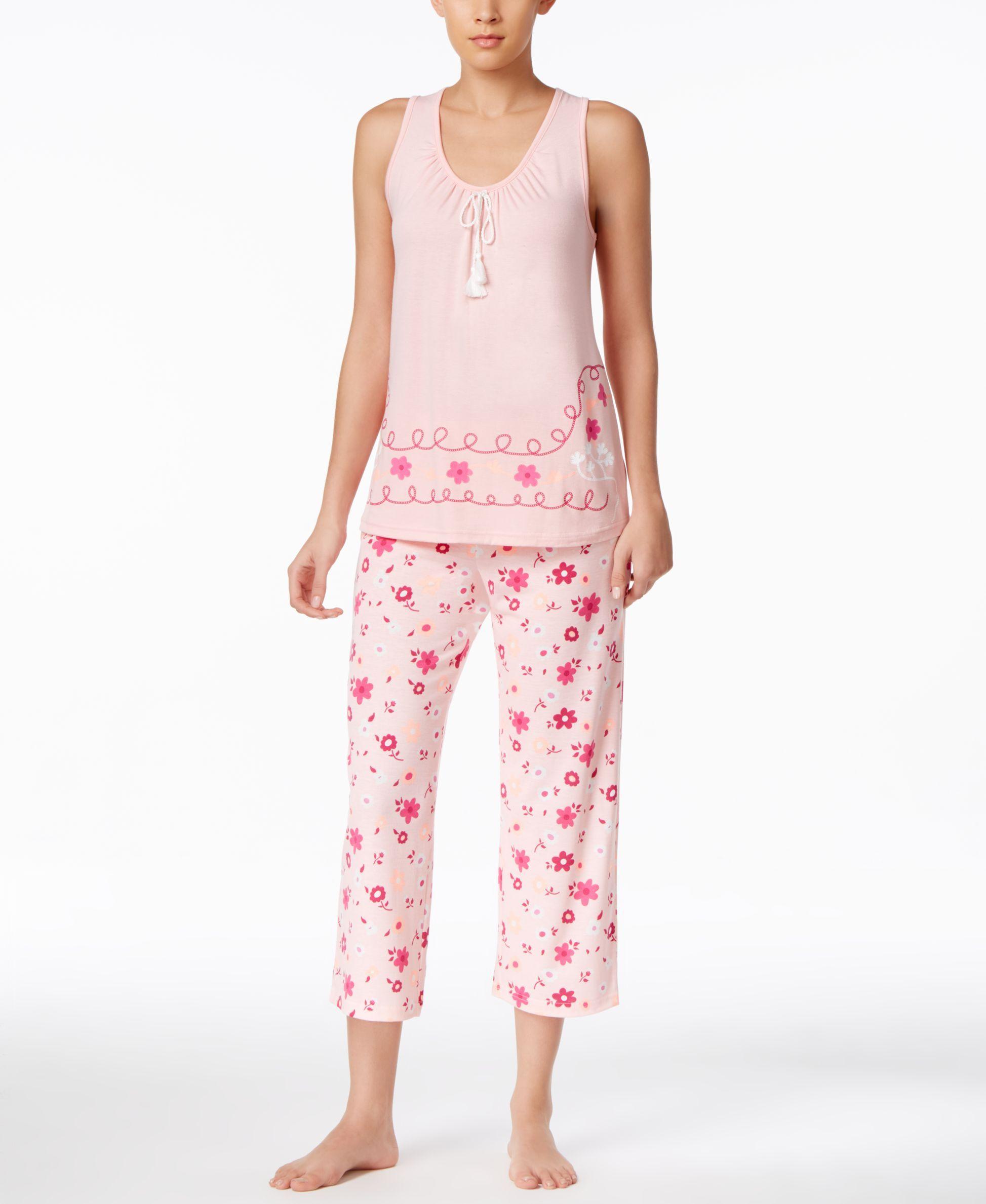 cfa3a8d42 Pj Couture Floral-Print Sleeveless Top and Capri Pants Pajama Set ...