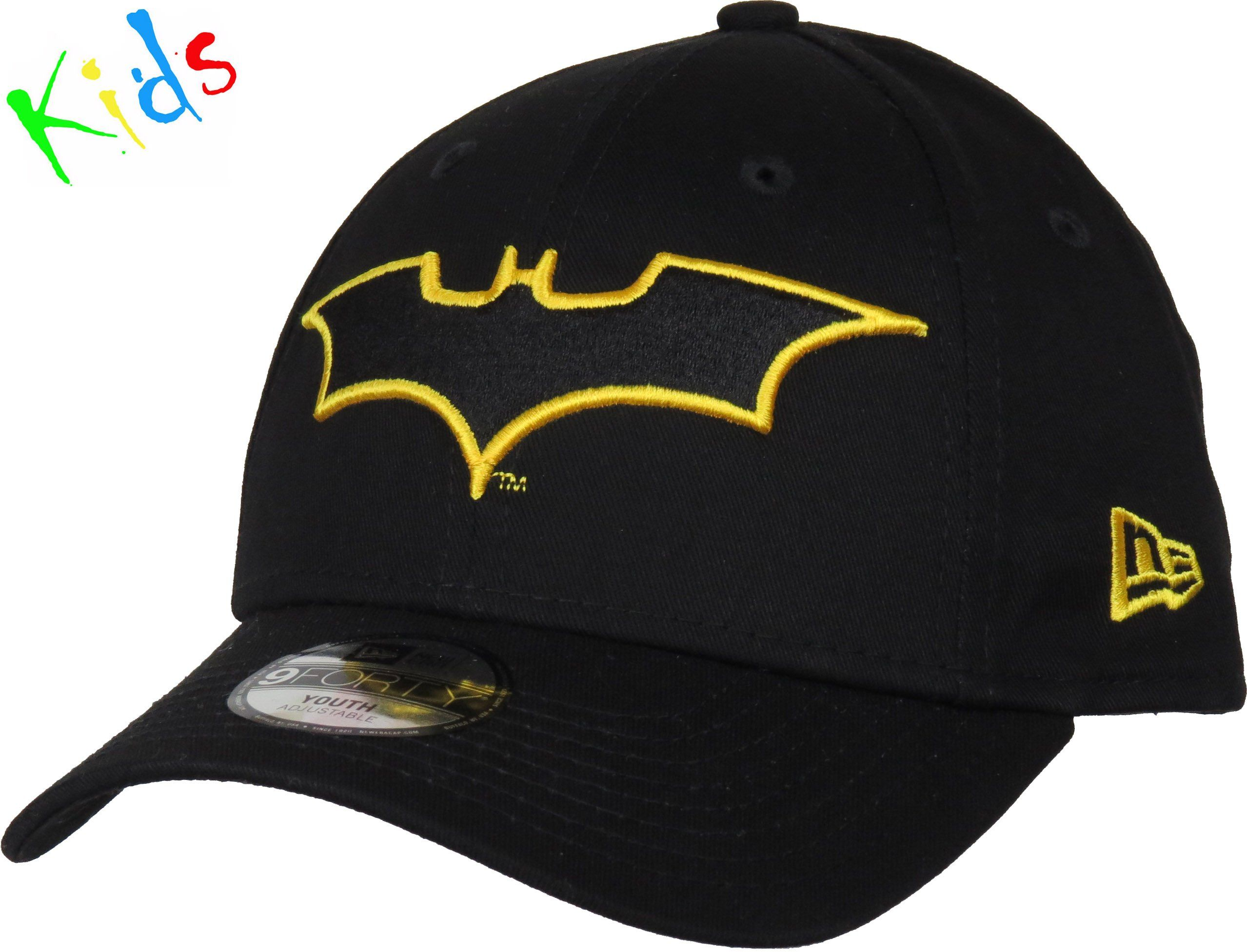 6587841416d New Era 940 Kids Character Outline Adjustable Superhero Cap. Black with the  Batman Outlined front
