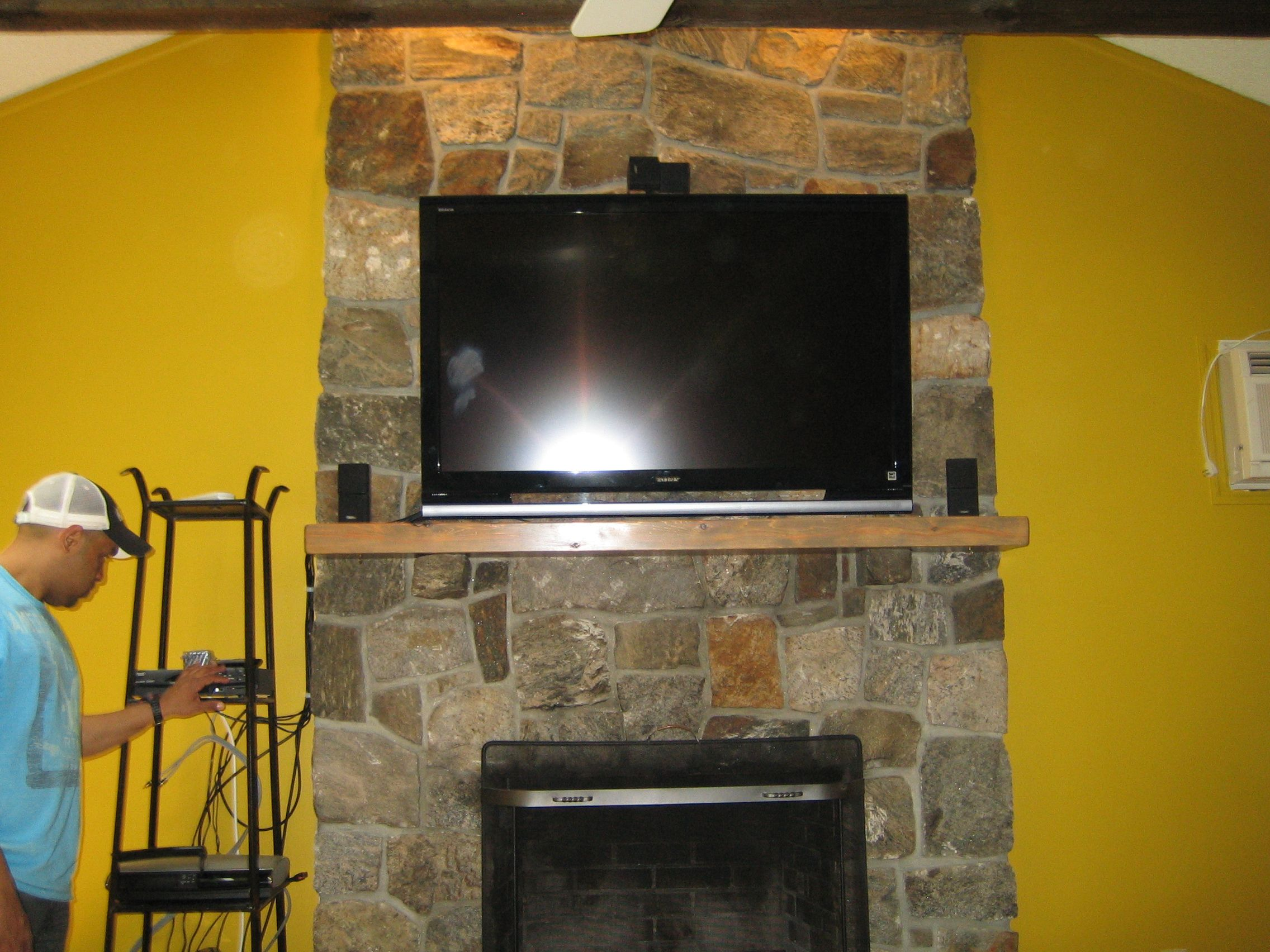 Pictures Of Fireplaces With Tv Above Canaan Ct Install On Natural Stone Fireplace Surround