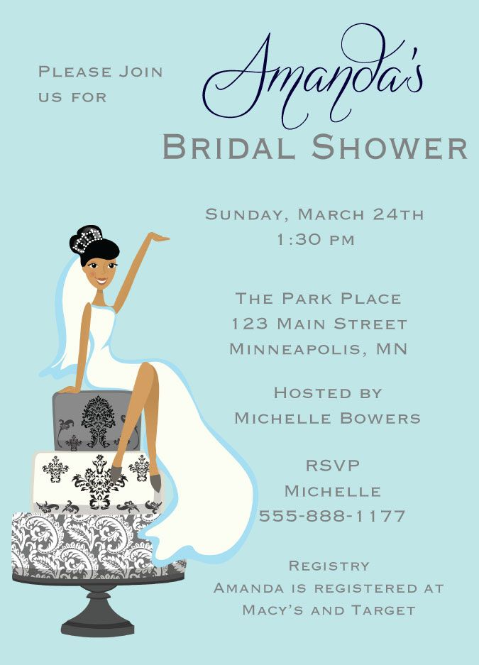 bride sitting on cake bridal shower invitations african american