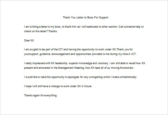 Thank You Letter Boss Templates Free Sample Example Format For