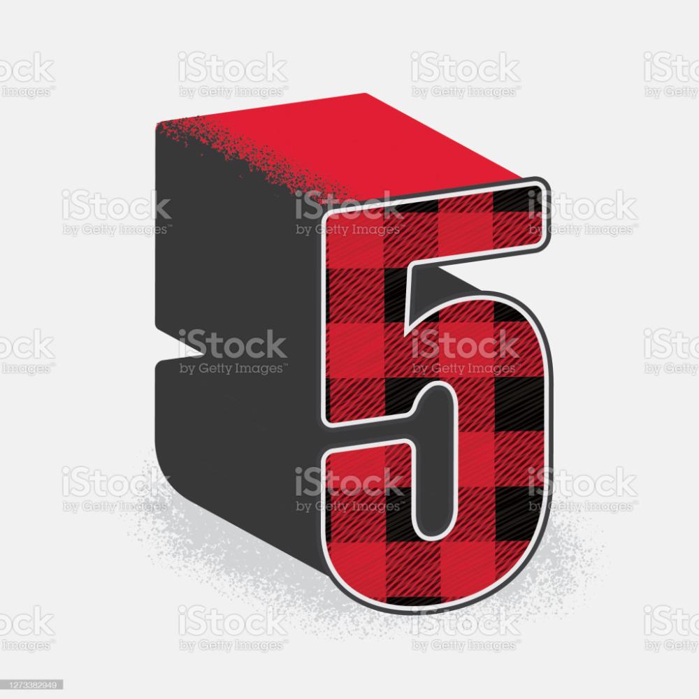 Vector Illustration Of A Lumberjack Plaid 3d Decorative Number Book And Magazine Design Identity Design Logo Alphabet Design