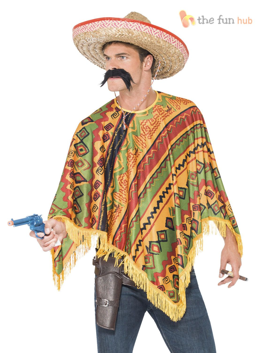 LARGE MEXICAN SOMBRERO SET ADULTS STRAW BANDIT HAT WILD WEST HOLIDAY FANCY DRESS