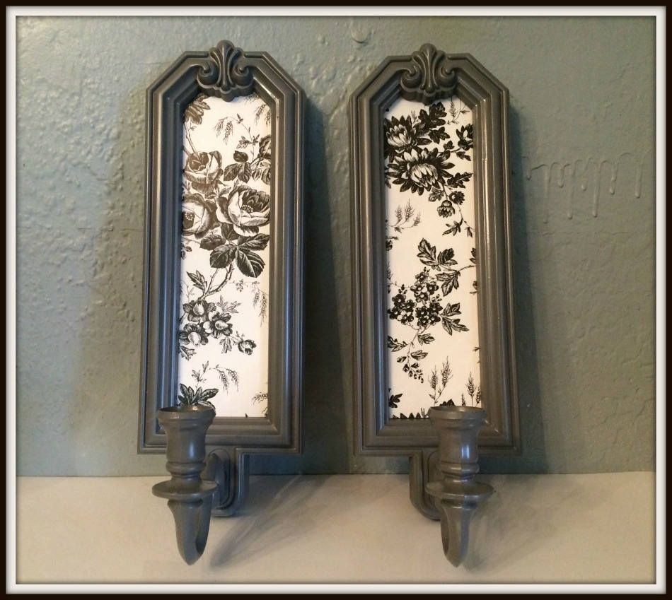 Upcycled Vintage Homco Candle Wall Sconces ~ Gray ~ Black ~ White Classy Candle Wall Sconces For Dining Room Review