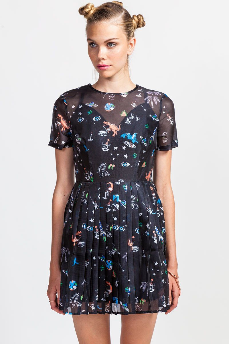 black sheer dress with dinosaur and cartoon print all over.
