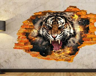 t te de tigre animaux trou dans le mur effet 3d wall. Black Bedroom Furniture Sets. Home Design Ideas