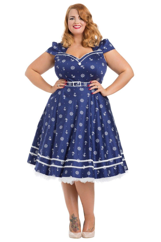 Voodoo vixen blue sailor dress rockabilly 50s vintage retro ...