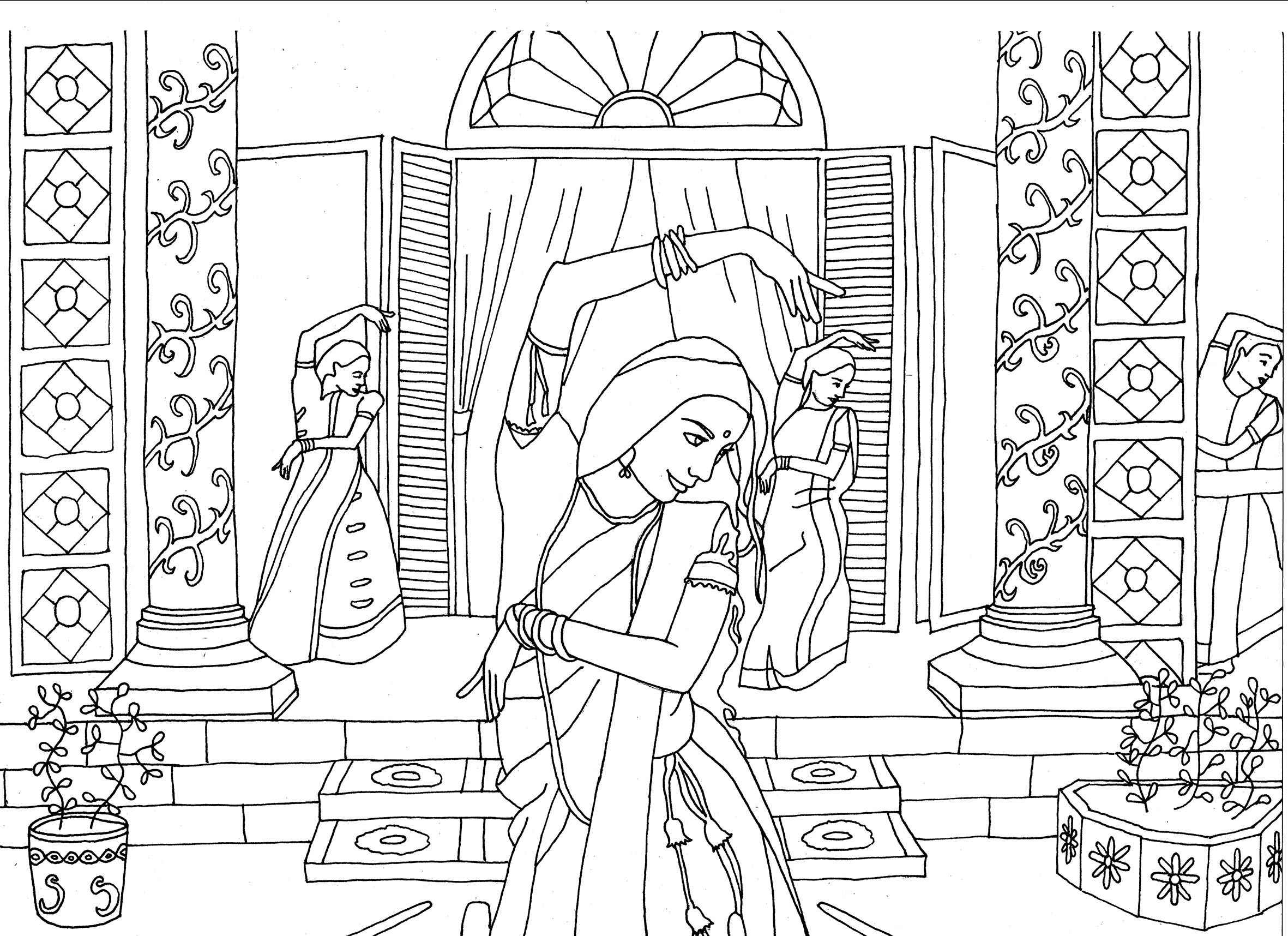 Free Coloring Page Indian Dancers By Marion C Bollywood Dancing Original Drawing