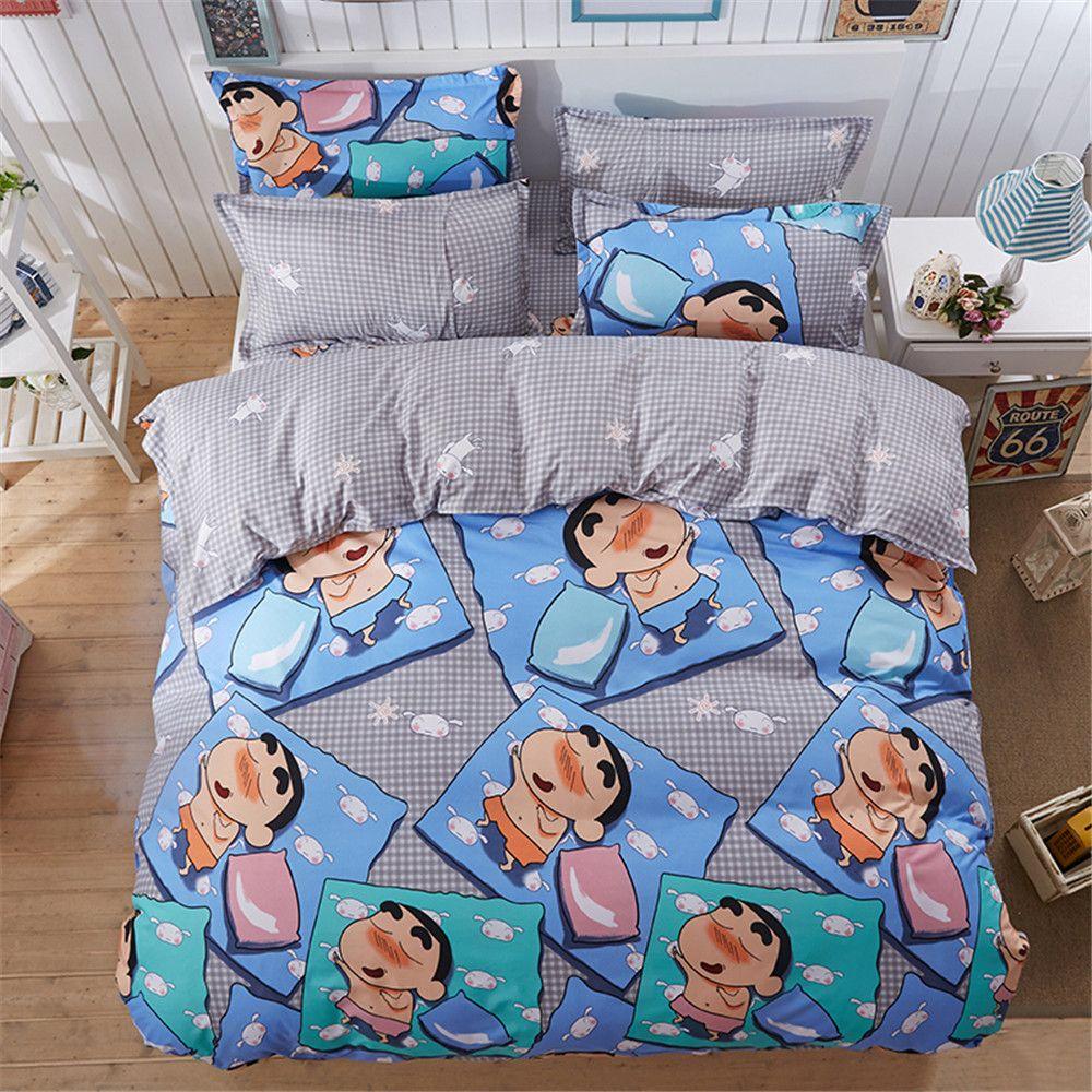 Japanese Cartoon Character Kids Bedding Sets 4PC Gray