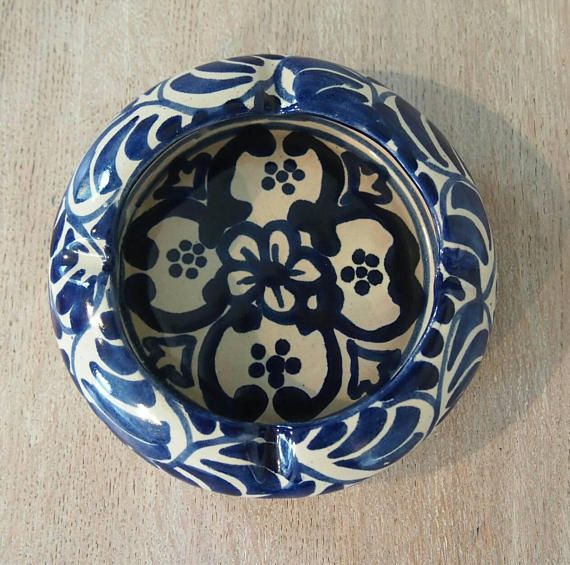 Blue and White Ashtray Vintage Mexican Ceramics Collectibles Made In Alba Mexico Gift Idea Gift for Smoker Blue and White Pottery & Blue and White Ashtray Vintage Mexican Ceramics Collectibles Made ...
