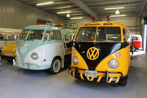 Vintage Volkswagen School Bus and a 1963 VW pickup truck