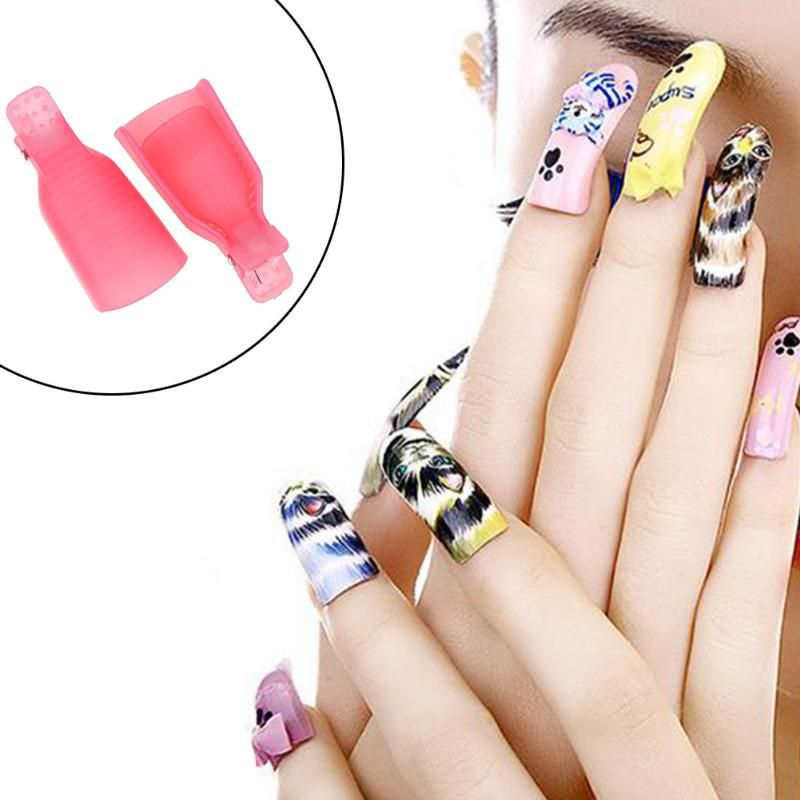 10Pcs Nail Polish Remover Cover Soak Off Cap Aid Clip Nail Gel ...